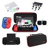 Nintendo Switch 7 pezzi Kit di accessori protettivi, custodia per il trasporto, anti-polvere, supporto per il gioco, protezione per lo schermo, impugnature in silicone, impugnatura Joy-Con