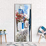 murando – Le papier peint autoadhésif pour portes XL - 80x210 cm - Trompe l oeil porte - Papier peint - Image - Papier peint pour portes - Poster – Autocollant - Photo - Image - Design - Grece nature bleu blanc c-B-0219-a-d