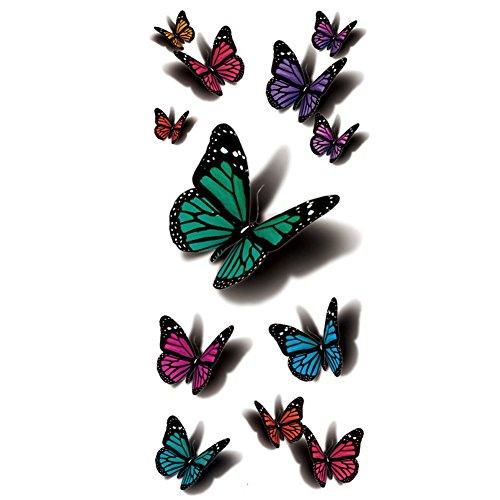 TAFLY Temporären Tattoo 3d - Sexy Mehrfarbigen Schmetterling Körper Kunst Wasserdicht Aufkleber 5 Blätter