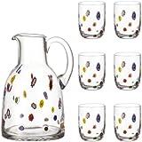 Leonardo 017184 Millefiori - Juego de jarra y vasos (7 piezas)