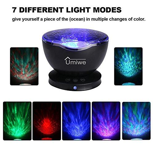 Neueste Version Ocean Wave Projektor, Umiwe 12 LEDs 7 Modelle Ocean Wave Nachtlicht mit Lautsprecher und Hängenden Löcher für Entspannung - Schlaf Aider