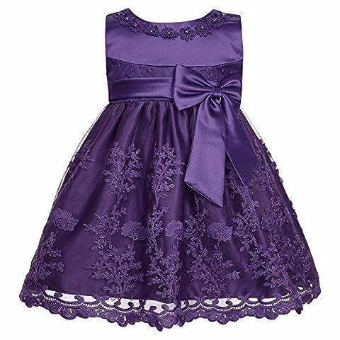 iiniim Baby Mädchen Prinzessin Kleid Blumenmädchenkleid Taufkleid Festlich Kleid Hochzeit Partykleid Festzug Babybekleidung Gr. 68-92 Lila 80-86 / 12-18 Monate