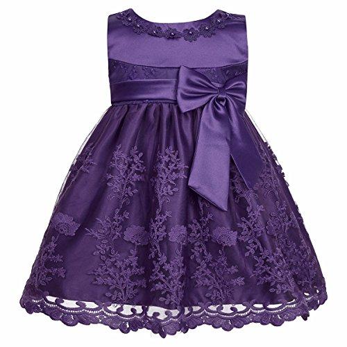 iiniim Baby Mädchen Prinzessin Kleid Blumenmädchenkleid Taufkleid Festlich Kleid Hochzeit Partykleid Festzug Babybekleidung Gr. 68-92 Lila 86-92/18-24 Monate