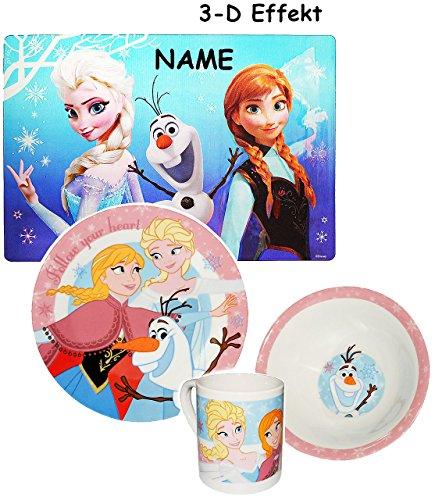 4 TLG. Geschirrset  Disney die Eiskönigin - Frozen  - incl. Namen - Porzellan Trinktasse + Teller +...