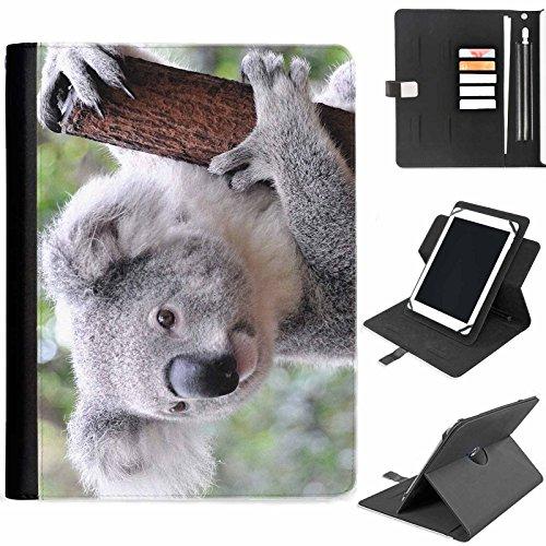 Hairyworm - Koalabär im Baum Samsung Ativ Tab P8510 (GT-P8510) Leder Klapphüllen Etui 360° Schwenkgehäuse, Schutzfolie mit Apple Bleistift / Stift / Stifthalter, Kartenfächern, Papierschlitz, Metallschnalle, Standfunktion