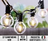 JP-LED Catena Di Luci LED【 Con 27 Lampadine Led G40 】Luci Da Esterno E Da Arredamento 【 Lunghezza 10,6 M 】Catena Luminosa Per Giardino, Casa, Decorazioni, Feste, Matrimonio, Natale