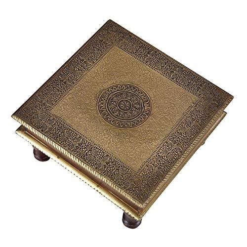 Casa Moro Orientalischer Hocker Beistelltisch Aroon L aus Holz mit feinen Messingintarsien   30x30x15 (BxTxH)   Kunsthandwerk aus dem Orient   MA25-70
