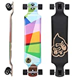 STAR-SKATEBOARDS® Premium Canadian Maple Drop Down Flush Cut Pro Longboard Skateboard für Kinder und Erwachsene auch Anfänger ab ca. 10 - 12 Jahre ★ 75mm Freeride/Long Distance Pushing Edition ★ Windows Art Design