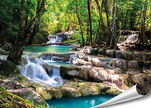 PMP-4life Wand-Bild Wasserfall im Wald, hochauflösendes Wasserfall-Poster XXL, Natur Poster in HD, großes Fotoposter Wanddekoration | Landschaft Bäume Wasser