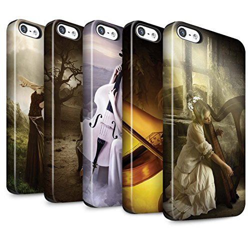 Officiel Elena Dudina Coque / Matte Robuste Antichoc Etui pour Apple iPhone SE / Violoncelle/Nuages Design / Réconfort Musique Collection Pack 6pcs