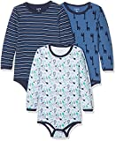 Care Baby Boys Bodysuit, Longsleeve, 3-Pack Multicoloured (Dunkel Blue) 9 Months (Manufacturer Size: 74)