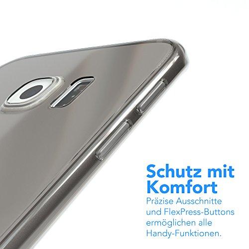 Samsung Galaxy S6 Edge Hülle - EAZY CASE Ultra Slim Cover Handyhülle - dünne Schutzhülle aus Silikon in Schwarz / Anthrazit Clear Hellgrau