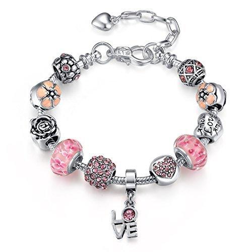 Presentski bracciale 925 argento placcato con fiori e amore murano perline per donna compleanno nozze