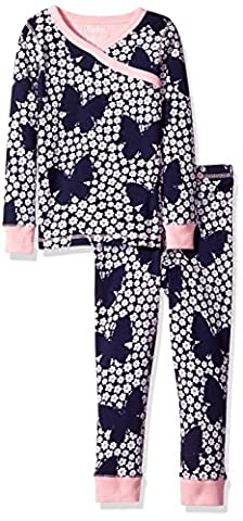 Hatley 100% Organic Cotton Long Sleeve Printed Wrap Sets, Pyjamas Fille, Blue (Butterflies/Bud), 4 Ans