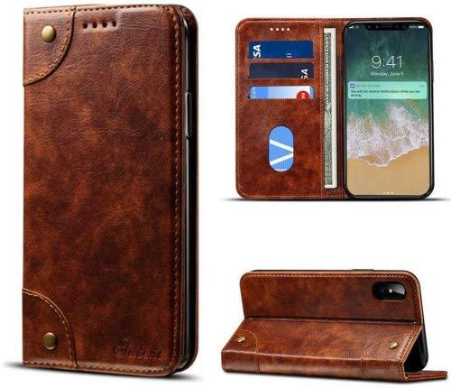 elecfan Hülle für iPhone X 5.8 Zoll, Premium Handy Schutzhülle Tasche Leder Wallet Tasche Brieftasche Etui Schale Standfunktion Slim-Schutzhülle für iPhone X/iPhone 10 - Hellbraun 5.8 Handys