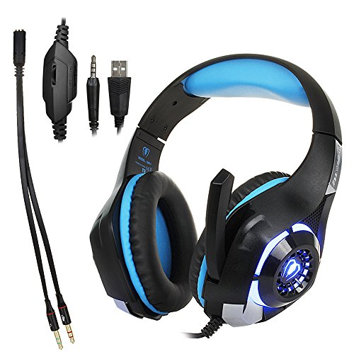 Beexcellent gm-1 Gaming Cuffie USB 3.5 Surround Sound Version Cuffie con Microfono e Luce a LED per cellulari e PC (Nero + Blu)