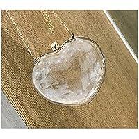 LridSu Bolso Clutch Bolso Transparente Bolso Transparente en Forma de corazón Transparente de la Moda Bolso Compras (Blanco)
