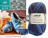 3x50 Gramm Gründl Filzwolle Color Wolle SB-Pack Wollset inkl. Anleitung für Gestreifte Filzhausschuhe mit 2 Strasssteine Zum aufnähen (23 Blau Mix)