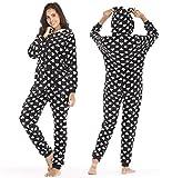 Dreamlove Jumpsuit Schlafoverall Damen Overall Onesie Einteiler Pyjama Lang Strampler Nachtwäsche Langarmshirt Playsuit mit Reißverschluss Schwarz S