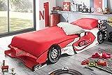 Cama coche juvenil en color rojo 215x99x35 cm para dormitorio o habitacion infantil o juvenil somier no incluido