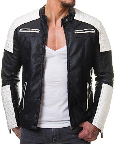 Redbridge Herren Jacke Übergangsjacke Biker Kunstleder Echtleder Baumwolle mit gesteppten Bereichen (S, Schwarz / Weiß - - Motorrad-jacke