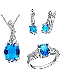 8f5ed1085 Uloveido Oval Cut Blue Red Purple AAA Cubic Zirconia Pendant Necklace Clip  On Earrings and Solitaire Ring Crystal Wedding Engagement…