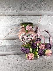 Idea Regalo - Vasetto a forma di cuore con candela con scritta