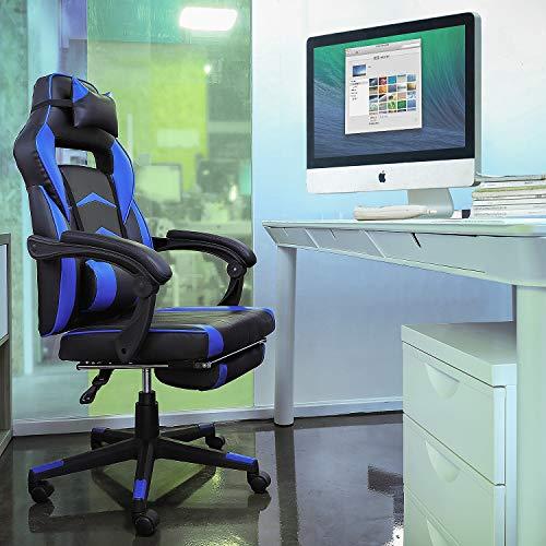 FIXKIT- Gaming Chair Silla de Oficina Gaming con Reposapiés Plegable, Reposabrazos, Almohada,...