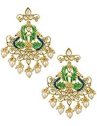 The Jewelbox Peacock 18K Gold Plated Green Red Blue Enamel Filigree Pearl Kundan Chandelier Earring Girl