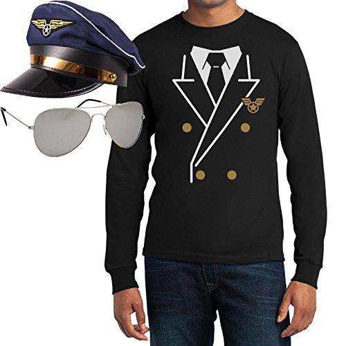 Piloten Karneval Kostüm Shirt + Brille + Hut Langarm T-Shirt Large Schwarz
