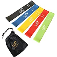 #1 Best Resistance loop Bands - Set of 5 Exercise Bands - For Home, Gym, Stretching, Toning, and Physical Therapy with Instruction Guide, Carry Bag, eBook and Online Workout Videos