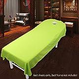 Sabana bajera para camilla de masaje, de UXELY, para tratamientos de belleza y masajes, salón, spa, con agujero, Green, 80cmx190cm