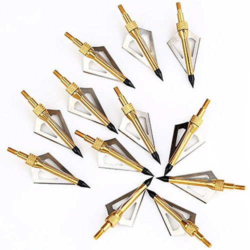 VERY100 12 x Pfeilspitzen Jagdspitzen Armbrust Bogen Alu mit 3 Klingen aus 430 Edelstahl mit Aufbewahrungskoffer Broadhead box Abbildung 3