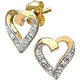 Naava 9ct Diamond Heart Earrings