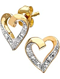 Naava Women's 9 ct Yellow Gold Diamond Heart Earrings
