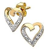 Naava Women's 9 ct Yellow Gold Diamond Heart Earrings