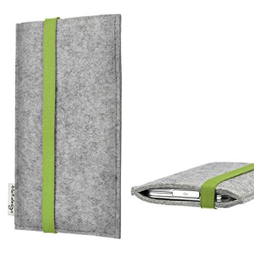 flat.design Handytasche Coimbra mit Gummiband-Verschluss für Huawei P20 Pro Single-SIM - Schutz Case Etui Filz Made in Germany in hellgrau grün - passgenaue Handy Hülle für Huawei P20 Pro Single-SIM