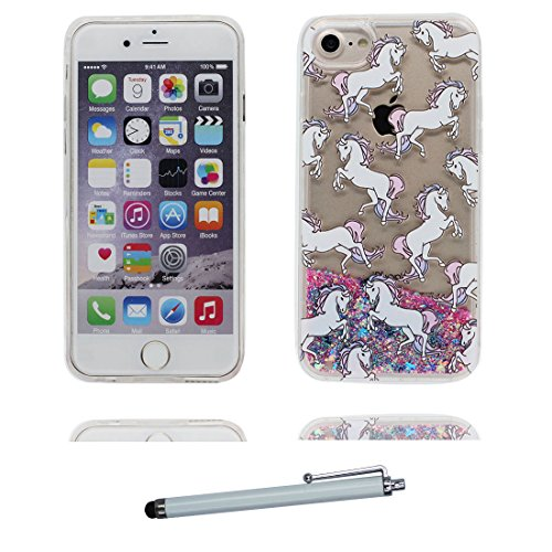 """iPhone 6 Coque, [Flamant Bling Glitter] iPhone 6s étui Cover (4.7""""), Fluide Liquide Sparkles Sables iPhone 6 Case (4.7""""), Greater Flamingo Shell anti- chocs et stylet cheval"""