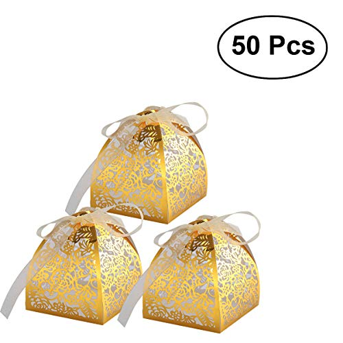 Rosenice scatole di favore di cerimonia nuziale carta di artigianato per i regali caramella con il nastro 50 pezzi (dorati)