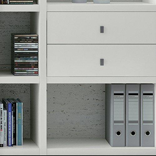 Wohnwand Bücherregal CD DVD Regal TOLEO238 weiß lackiert, LED - 4