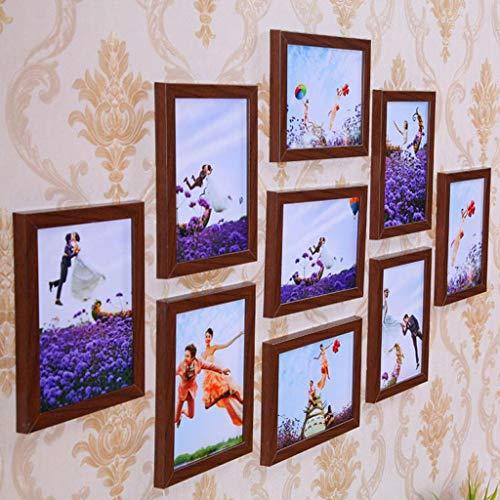 LXYPLM-ZPQ Bilderwand Bilderrahmen Set Fotorahmen Mehrere Fotos 7x5 Wohnkultur Wandbilderrahmen Set, 9 Stück Kombination aus Holz for Wohnzimmer (Color : Teak Color) -