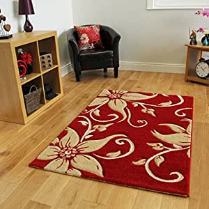 tapis moderne rouge et beige avec motif fleurs 4 tailles cuisine maison. Black Bedroom Furniture Sets. Home Design Ideas