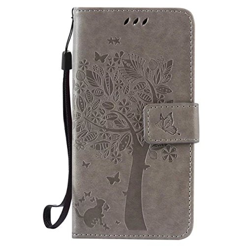 Solid Color Premium PU-Leder Tasche Cover mit Prägung Katze & Baum Muster Wallet Stand Case Soft Silikon-Abdeckung für LG G3 mini ( Color : Coffee , Size : LG G3 Mini ) Gray