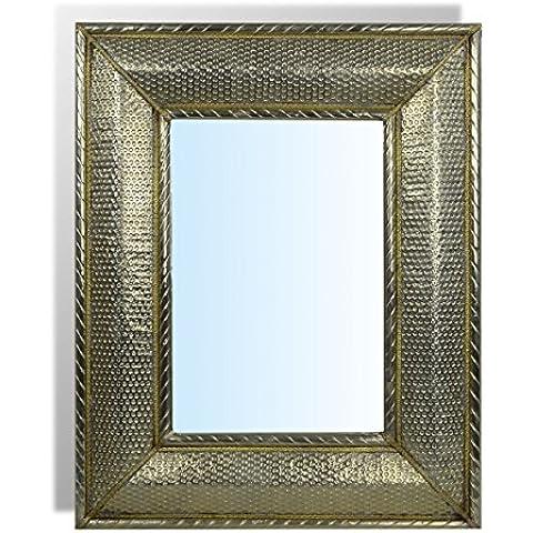 Espejo plateado rectangular grande marroquí – Longitud 70 cm Ancho 50 cm