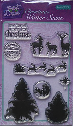 Sweet Dixie Christmas Winter Scene Clear Stamp Set, Transparent