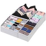 CGBOOM Aufbewahrungsbox für Unterwäsche und Socken, Schrank und Schubladen Ordnungssystem, 4er Faltbox Kleiderschrank Organizer für BHS,Socken, Unterhosen und Kleine Zubehörteile (Weiß)