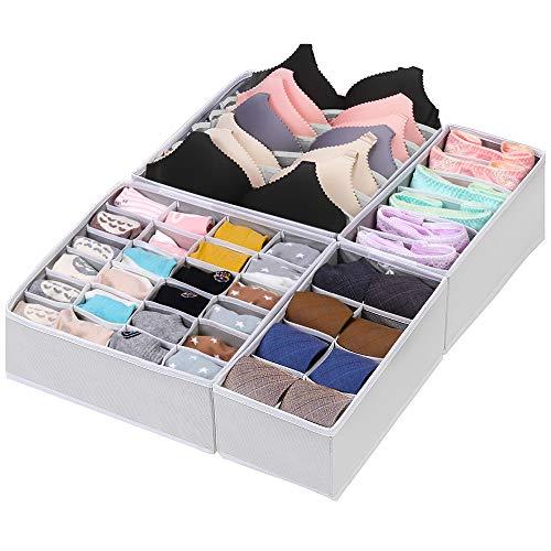 CGBOOM Aufbewahrungsbox für Unterwäsche und Socken, Schrank und Schubladen Ordnungssystem, 4er Faltbox Kleiderschrank Organizer für BHS,Socken, Unterhosen und Kleine Zubehörteile (Weiß) -