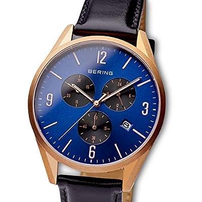 BERING Reloj Analógico para Hombre de Cuarzo con Correa en Cuero 10542-567 de BERING