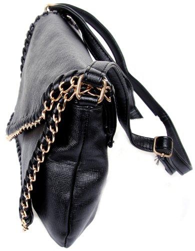 Borsa Calonice Amorino da spalla e a tracolla da donna con manici imitazione pelle (M) 28x20x7 cm (LxHxW) 7000 Nera