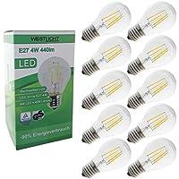 West luce E27 Filament | Lampadina a LED | AC 230 V 4 W 440 lumens 270° bianco caldo, Set da 10, E27, 4.0 wattsW, 230 voltsV